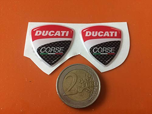 2 ADESIVI in RESINA 3D Stemmi-Loghi DUCATI Corse per MOTO-SCOOTER-CASCO 30 mm