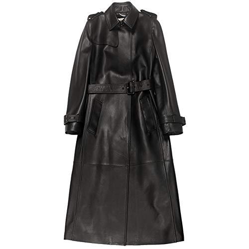 ZRJRJ Frauen echtes Leder Slim Fit schwarz Biker Jacke Lange hochwertige Leder Plüsch Jacke Mode elegant,S