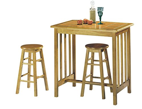 Counter-height Dining Room Sets (Major-Q 9002140ot 3Pc Pack Farmhouse Style Wood Frame Space Saving Design Oak Finish Counter Height Dining Set with 1 Terracotta Tile Top Table and 2 Bar Stools Included)