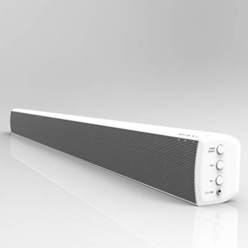 LONPOO 2.0 Kanal Heimkino Soundbar-Lautsprecher TV Sound Bar 40 Watt Surround-Stereo Sound Heim-Audiosystem, Bluetooth/AUX/OPT/Koaxial/Cinch Audioausgang, Weiß