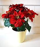 HKT Home Deco Weihnachtsstern im Topf 5 Blüten Deko Kunstblume Poinsettia X-Mas Weihnachtsdeko Blume rot ca. 32cm