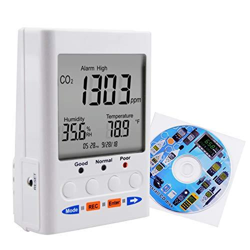 ST-502 Tenmars CO2-/Temperatur-/Luftfeuchtigkeits-/Innenraum-Luftqualität (IAQ) mit CD-Software, On-line-Logger, NDIR-Sensor, CO2, 999999ppm Desktop/Wandhalterung