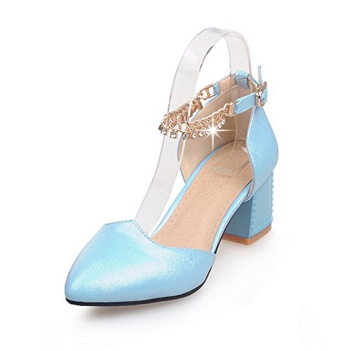 AgooLar Femme Mosaïque Pu Cuir à Talon Correct Pointu Boucle Chaussures Légeres Bleu Clair