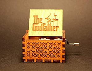 Bigaxi The Godfather Hand Cranked Collectable Engraved Wooden Music Box