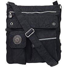 Bag Street Unisex funda nylon hombro bolso de Cross Body Bag Beige