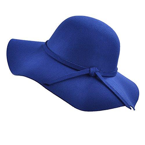 en Dame Weinlese schlaffe breite Rand Wolle Filz Bowler Fedora Hut schlaffe Cloche Bestes Weihnachtsgeschenk (Blau) (Filz Fedoras)