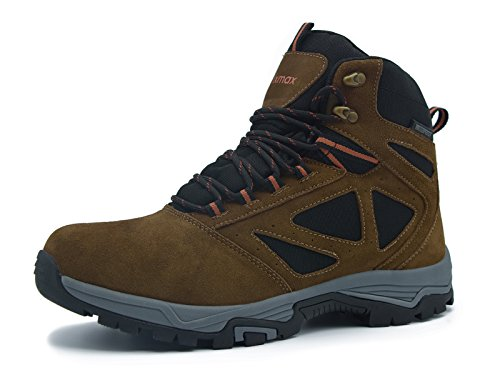 Knixmax Herren Wanderschuhe Leder Wasserdicht Stiefel Outdoor Stiefel Trekking Hiking Boots Gleitsicher Dämpfung Stiefel Men Waterproof Trekking-& Wanderstiefel, Braun, 45 EU (11 - Mens 11 Wasser-schuhe Size
