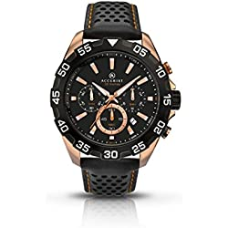 Accurist Men's Quartz Watch with Black Dial Chronograph Display and Black Leather Strap 7049.01