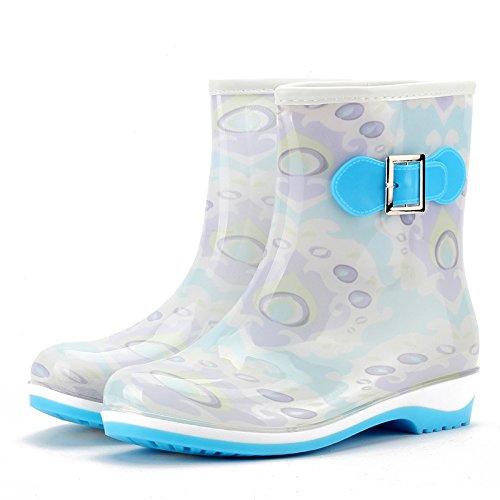 Mode Gummistiefel geringen Schlupf atmungsaktive Regenstiefel für Damen mit einer Volltonfarbe Wasser Schuhe Frau Schuhe aus wasserfesten Schuhen days blue