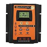 EBTOOLS Regolatore di carica solare MPPT Pannello solare Display LCD doppio regolatore batteria USB, 12V / 24V(50A)
