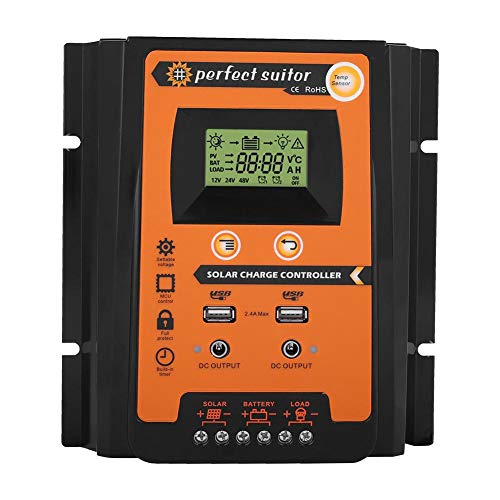 Mppt Solar Controller (Akozon Charge Controller Solar Panel Smart MPPT Wasserdichter 12V/24V Solarladeregler Dual USB mit LCD-Anzeige(50A))
