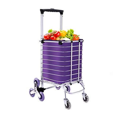 Tellerwagen Folding Trolley Einkaufswagen Kleiner Einkaufswagen Einkaufswagen Klettern Treppen Tragbare Folding Trolley Home Trailer Trolley Car (Color : Purple, Size : 26 * 23 * 105cm)