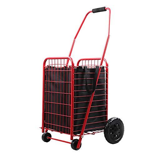 MZTYX De Treppensteigen-Wagen, heißer verkaufender Laufkatzen-tragbarer faltender Gepäckwagen-Einkaufswagen-Einkaufswagen-Ausgangsanhänger,Red,BWITHBAG