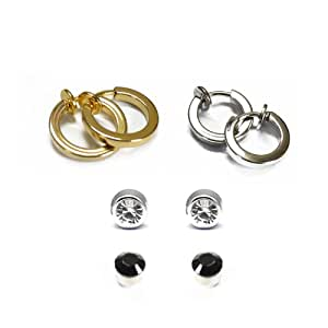 Via Mazzini Clip On & Magnetic 4 Earrings Combo For Non-Pierced Ears for Girls