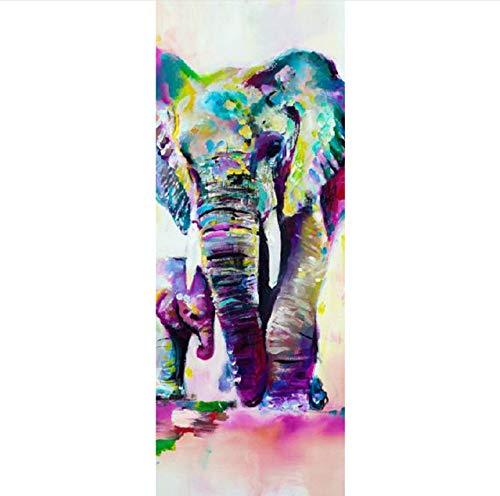 Wasser Farbe Elefant Bild Wandbilder Wandaufkleber Tür Aufkleber Tapete Aufkleber Dekoration 77X200 Cm