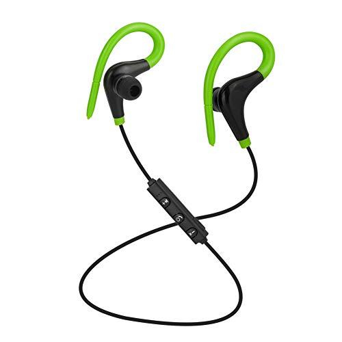 Auriculares con Bluetooth, 4.1 auriculares estéreo magnéticos inalámbricos en la oreja, ajuste seguro para deportes, viajes, gimnasio (micrófono de cancelación de ruido CV 6.0 incorporado),Green