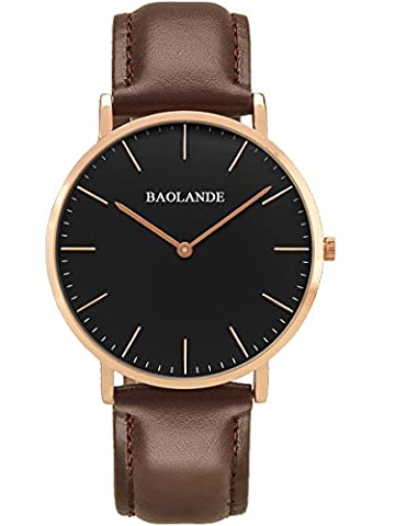 Alienwork Quarz Armbanduhr elegant Quarzuhr Uhr modisch Zeitloses Design klassisch Leder rose gold braun