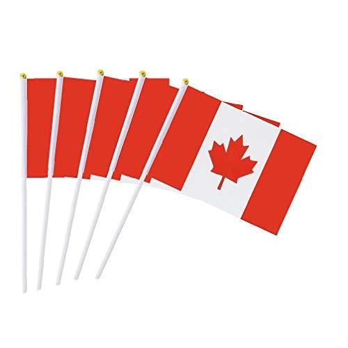 Canjerusof 50Pcs Kanada Stock-Flagge 5,5 X 8,3 Zoll Kleine Hand Flagge Mini Kanadische Flagge -