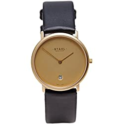 Stahl SWISS MADE Wrist Watch Model: ST61271 - Gold Plated - Extra Large 36mm Case - 12 Dot Gold Dial