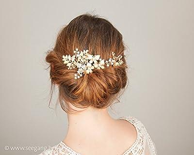 Peigne de mariée fleuri en couleur d'or, bijoux de tête à 3 pièces