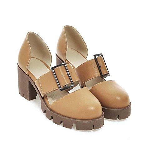 Onfly Donne Punto rotondo Sandali Fibbia della cintura Piattaforma impermeabile Tacco grosso Pompa Sandali Yellow