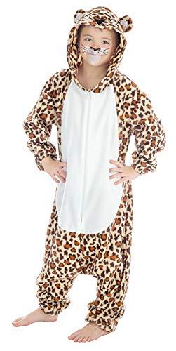 Kigurumi Skikostüm Leopard für Kinder - 140cm - Plüsch Verkleidung Tierkostüm Karneval Mottoparty Festival