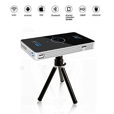 OTHA Mini DLP Projecteur 4K Lecture Vidéo, Android 7.1 RAM 2Go DDR3 Smart Home & Cinema avec Airplay, Miracast, HDMI in & WiFi Connectivité sans Fil, Apparence Tactile et Portable par OTHA