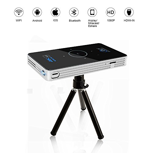 OTHA 4K Android 5.1 Mini Beamer, RAM 2GB DDR3 Mini LED Projektor, Tragbar DLP Heimkino mit Keystone Korrektur, HDMI IN & WIFI Wireless Connectivity, Touch Bildschirm (Schwarz) (Kleine Wireless-projektor)