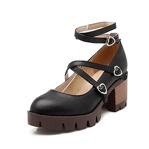 AllhqFashion Femme à Talon Correct Couleur Unie Boucle Rond Chaussures Légeres Noir
