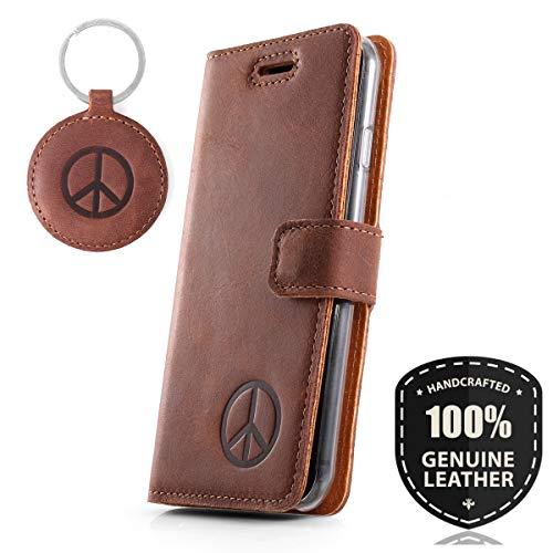 CND Symbol - Premium Vintage Ledertasche Schutzhülle Wallet Case aus Echtesleder Nubukleder Farbe Nussbraun für Huawei Mate 9 (5,90 Zoll)