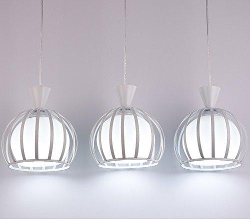 Drei Schalen Kronleuchter Glas Moderne Tischlampe (Farbe : Weiß-2#) -
