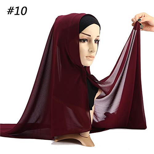 Bubble Wrap Kleid (ZHENSIR Women Plain Bubble Chiffon Scarf Hijab Wrap Solid Color Shawls Convenient with Button Headband Hijabs Scarves Scarf)