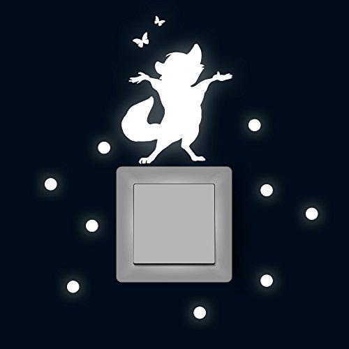 Lichtschaltertattoo Lichtschalteraufkleber Lichtschaltersticker Wandtattoo Wandbild Waschbär mit Schmetterlingen und Punkten M1879