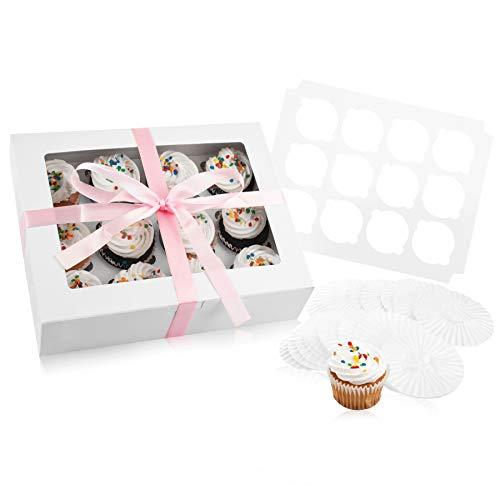 Einweg Cupcake Halter Bakery Box: 12Treat Carrier & Aufbewahrungsboxen mit Sichtfenster & 12Fügt oder Halter für ein Dutzend Standard Cupcakes-inklusive 50Cup Cake Backförmchen & Band