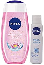 Nivea Bath Care Shower Water Lily Oil, 250ml with Nivea Fresh Natural Deodorant for Women, (150ml,pack of 2)