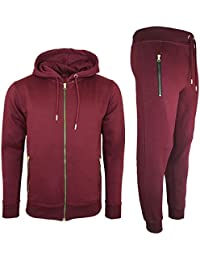 7d8b2ae4b208 Mens Tracksuit Set New Contrast Cord Fleece Hoodie Top Bottoms Jogging Zip  Joggers Gym Sport Sweat