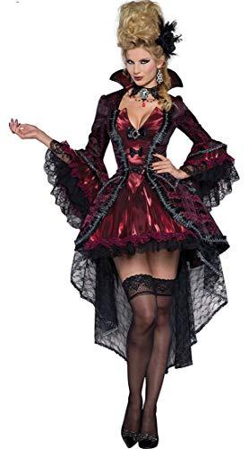 (Sijux Halloween Kostüme Hexe Rollenspiel Palast Königin Vampir Frauen Cosplay Kostüme Schwalbenschwanz Kleid,M)