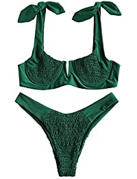 e3c33fafbd8ad ZAFUL Women Knots Wide Straps Smocked Bikini Set V-Cut Underwire Push-up  Bikinis
