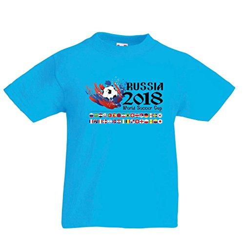 Lepni.me Camiseta para Niño/Niña Copa Mundial de Rusia 2018, Las 32 Banderas Nacionales del Equipo...