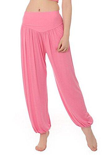MEISHINE® Damen Modal Elastisch Haremshose Pluderhose Pumphose Ideal für Sport Yoga Tanz Jogging Dance (Size XXL, Rosa) (Xxl-rosa-yoga-hosen Für Frauen)