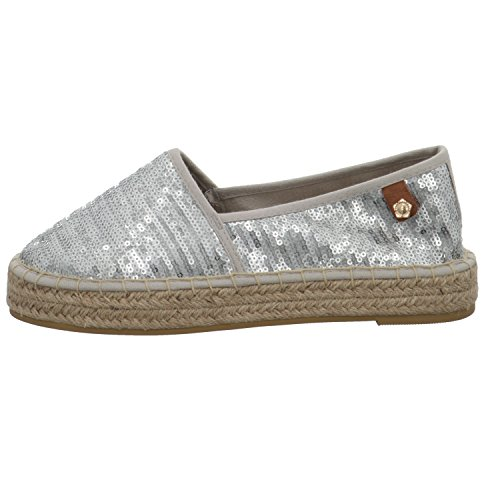 Tamaris Schuhe 1-1-24602-28 Bequeme Damen Slipper, Halbschuhe, Sommerschuhe für modebewusste Frau, Trend metallic (Silver Sequins), EU 41 -