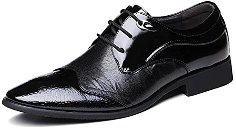 LYZGF Männer Jugend Business Casual Fashion Gentleman Verheiratete Schnürung Lackleder Lederschuhe
