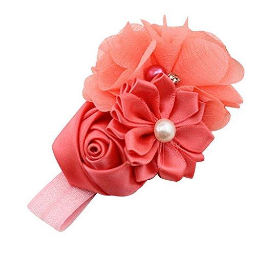 koperras BéBé Fille Solide Fleur Perle Fleur Bande De Cheveux Bandeau Bandeau Accessoires Cheveux Bu (Yellow Flower Hair Pin)