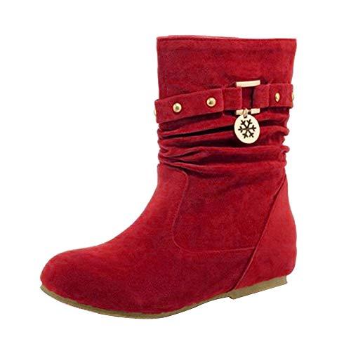 MOIKA Damen Boots Herbst und Winter Frauen halten warme Flock Nieten Matte flache Keile Schuhe Stiefel Winter Schuhe(230/37,Rot)