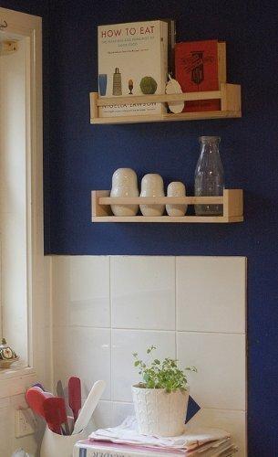 Soporte para botes de especias de madera IKEA 4 - diseño con texto en inglés - Soporte auxiliar para libros - estante infantil - Kitchen - accesorios de baño - organizadora - de madera de abedul - bekväm