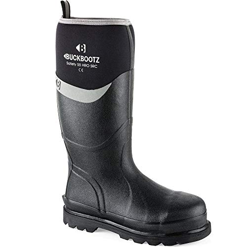 Buckler Black Safety Wellington Buckbootz BBZ6000 S5 HRO SRC Knee Length sz 5-13