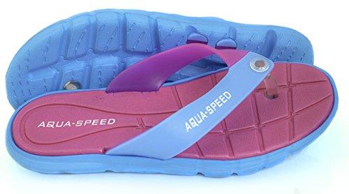 AQUA-SPEED® BALI Badesandalen (Frauen Zehentrenner Anti-Rutsch-Struktur Schwimmbad Badeurlaub Garten Swimmingpool + UP®-Schlüsselband) Pink / Blau