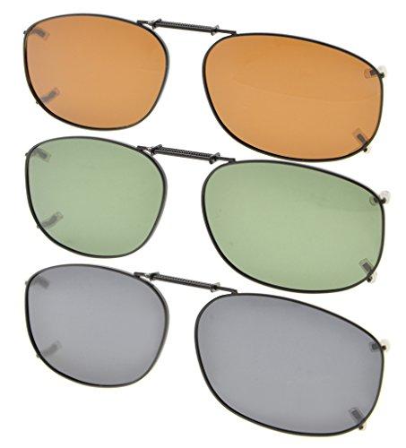 Eyekepper Grau/Braun/G15 Linse 3er Pack Clip-on Polarisierte Sonnenbrille 54x37MM