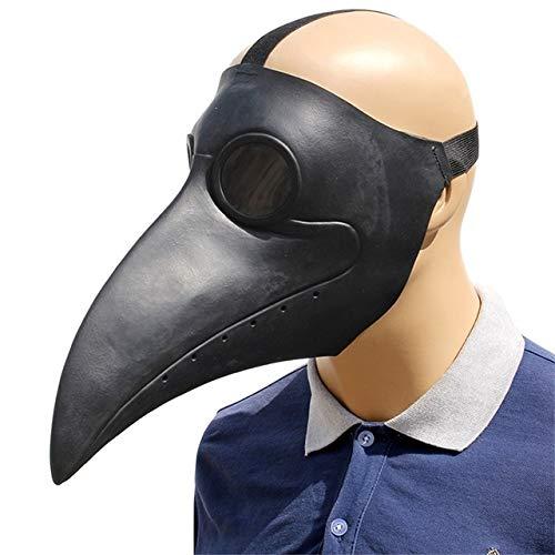 KKEINYE Pest Doktor Cosplay Kostüme Steampunk Vogel Maske Kostüm Latex Masken Halloween Party Weiß/Schwarz Vogel Schnabel Masken schwarz (Weiße Pest Doktor Kostüm)