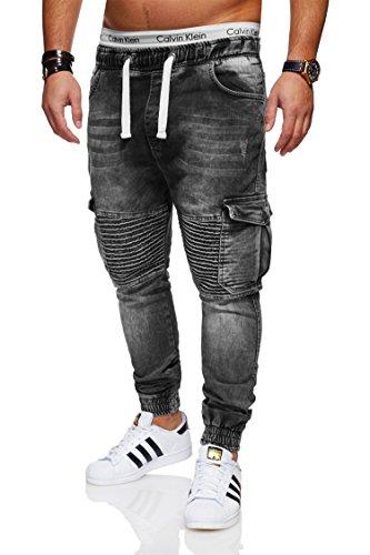 behype. Herren Destroyed Jogg-Jeans Biker Hose 80-2271 Dunkelgrau 32 Biker-denim
